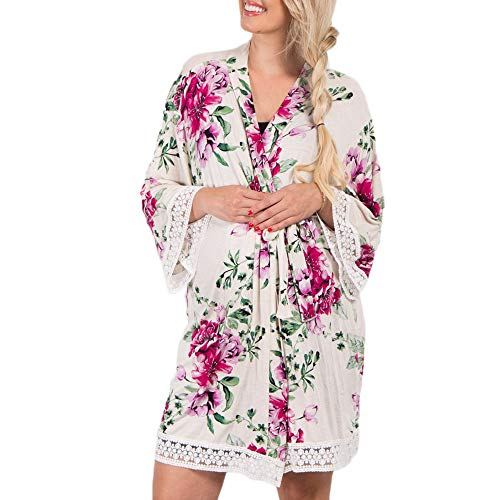FULA-bao Womens Maternity Labor Delivery Nursing Robe, Floral Print Lace Trim Pregnancy Nightgowns Hospital Breastfeeding Gown (Beige, S) (Floral Print Wrap Robe)