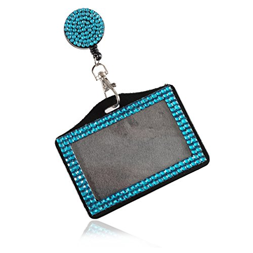 Purely Handmade Fashion Retractable Teal Blue Bling Crystal Strap Neck Lanyard Cute Rhinestone Badge Holder+Jeweled Horizontal Business Name ID Card Holder+Beaded Badge Reel Clip