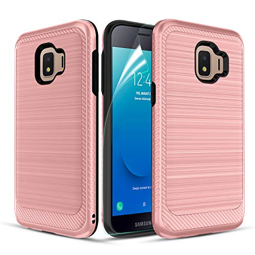 Likeny Case for Galaxy J2,Galaxy J2 Pure/J2 Core/J2 Dash/J2 Shine with Screen Protector,Scratch Proof,Resilient Shock Absorption for Men/Women-Rose - Shine Rose