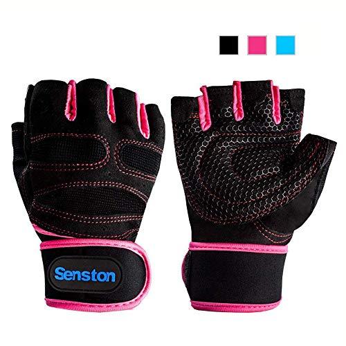 Senston Half Finger Sport Gloves Cycling Mountain Road Bike Racing Bicycle Gloves Bodybuilding Exercise Sport GYM Fitness Gloves for Men Women Rose Red Color