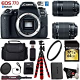 Canon EOS 77D DSLR Camera with 18-55mm is STM Lens & 55-250mm is STM Lens + Flexible Tripod + UV Protection Filter + Professional Case + Card Reader - International Version