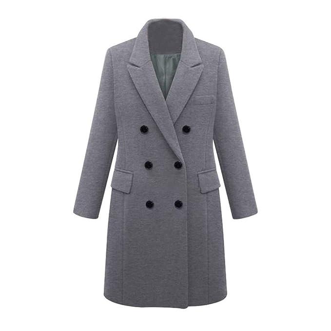 Longra Damen Winter Slim Fit Wollmantel Business Überzieher Schlank Lange Windbreaker Jacken Damen Wintermantel Wolljacke Lang Umlegekragen Warm