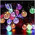 Solar String Lights Garden 50 LED 24Ft Outdoor String Lights Multi-Colored Waterproof Crystal Ball Fairy Lights
