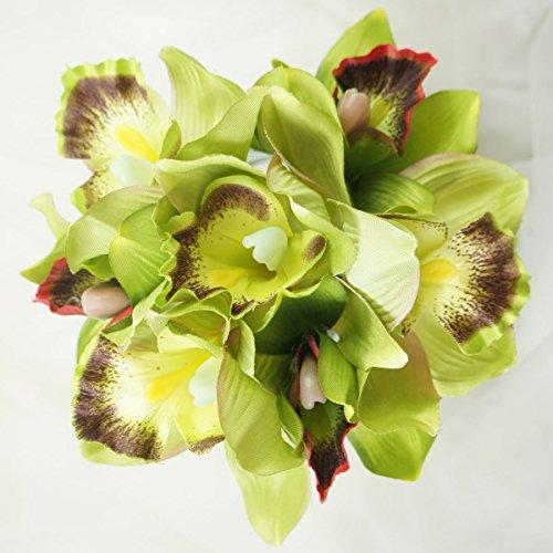 (Lily Garden Mini 7 Stems Cymbidium Orchid Bundle Artificial Flowers (Green))