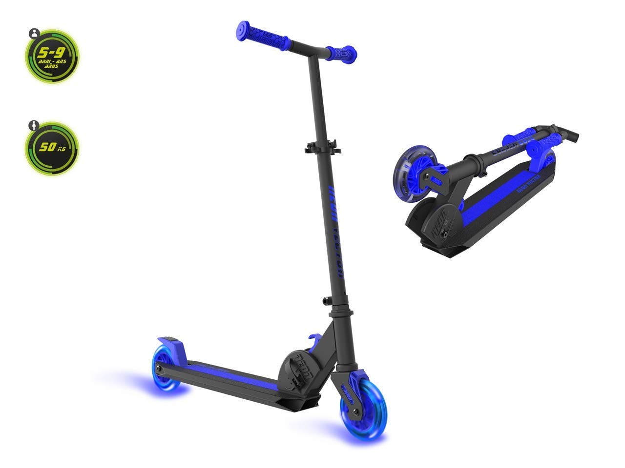 Neon Vector Kids Light Up Wheels Scooter with LED Lights for Boys and Girls Age 5 -12 Blue by Neon