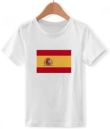 DIYthinker España Bandera Nacional Europa país de Cuello Redondo Camiseta para Chico: Amazon.es: Ropa y accesorios