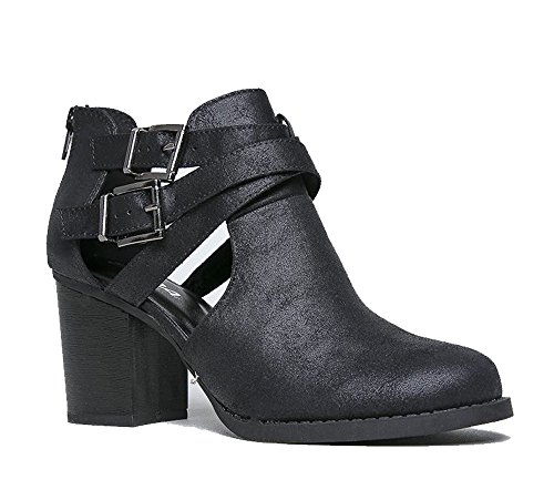 J. Adams Cut Out Buckle Ankle Bootie - Low Stacked Wood Heel Western Round Boot - Vegan Leather Sammi by Black Pu** WRbvnP