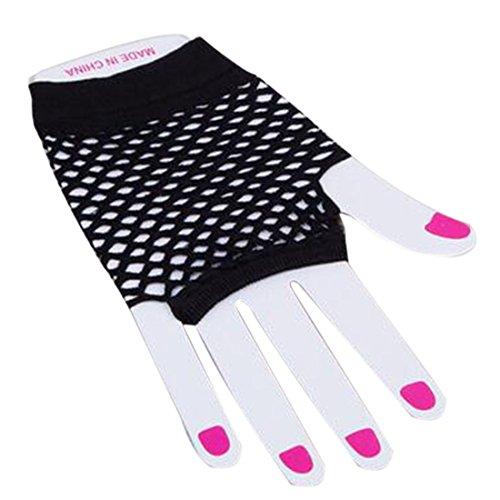 Glam Rock Costumes For Womens (1 Pair Short Fishnet Fingerless Mesh Gloves Punk Rock Costume Dress Night Party Black)