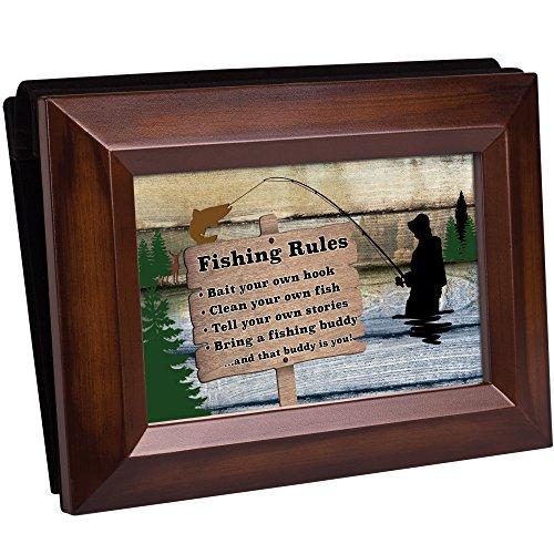 Cottage Garden Fishing Rules Fishing Buddy Rich Walnut Wood 4 x 6 Table Top Photo Frame Picture Album - Buddy Wood 4 Shelf
