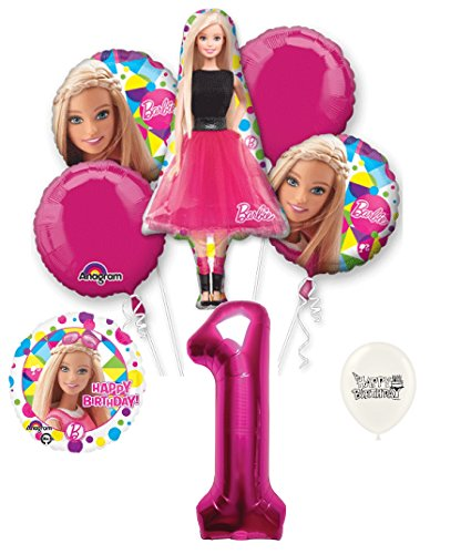 1st Birthday Barbie Party Decorations Balloon Bouquet ()