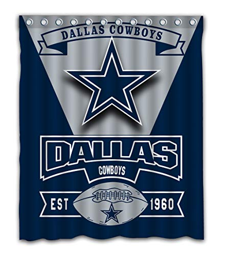 Weckim Custom Dallas Football Team Waterproof Fabric Shower Curtain Colorful Design for Bathroom Decoration Size 60x72 Inches
