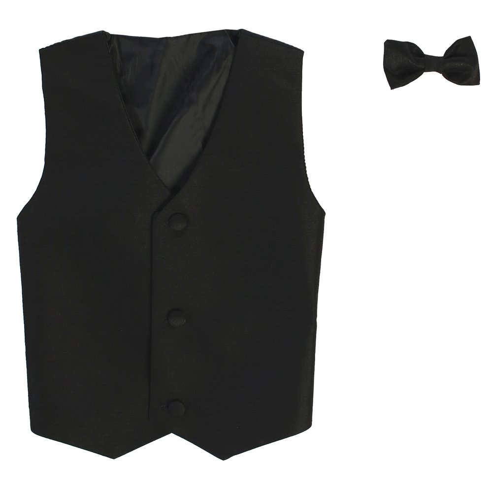 Lito Big Boys Black Poly Silk Vest Bowtie Special Occasion Set 8-14