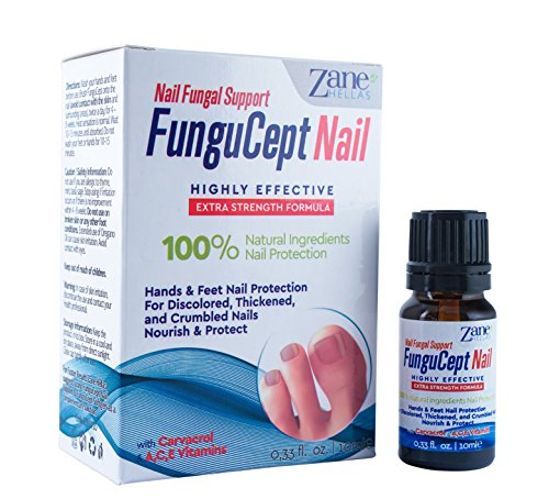 Zane Hellas FunguCept Nail Fungal Support. Natural Nail Protection for Discoloured, Thickened, and Crumbled Nails. Toenail and Fingernail Restorer. 0.33 oz. – 10 ml. with Oil of - Zane Black