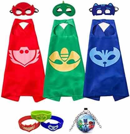 gerba PJ Masks Costumes Catboy Owlette Gekko Masks Capes Bracelets Neaclace For Kids