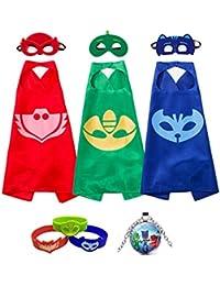 Costumes Catboy Owlette Gekko Masks Capes Bracelets Neaclace For Kids