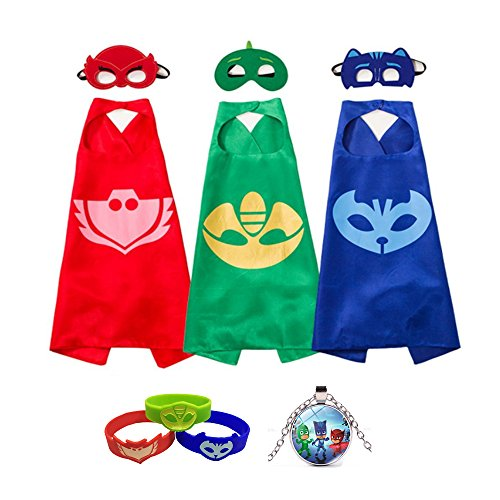 Fancy Dress Superhero Costume with Capes Masks Bracelets and Necklace for Kids