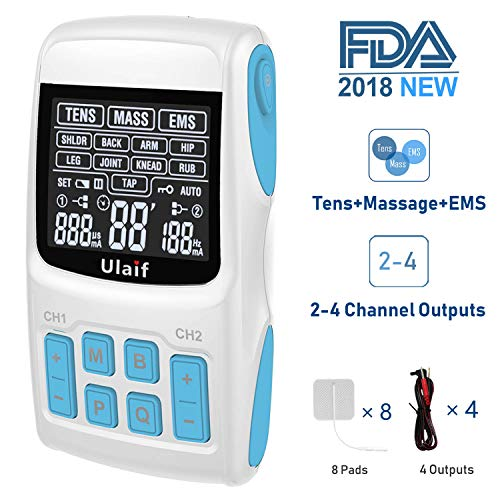TENS Unit+EMS Muscle Stimulator+ Pulse Massager 3-in-1 Combination, Ulaif 2018 New FDA Approved, 36 Modes for Pain Relief & Muscle Strength, 2-4 Channels Output,8 Long Life Pads by Ulaif