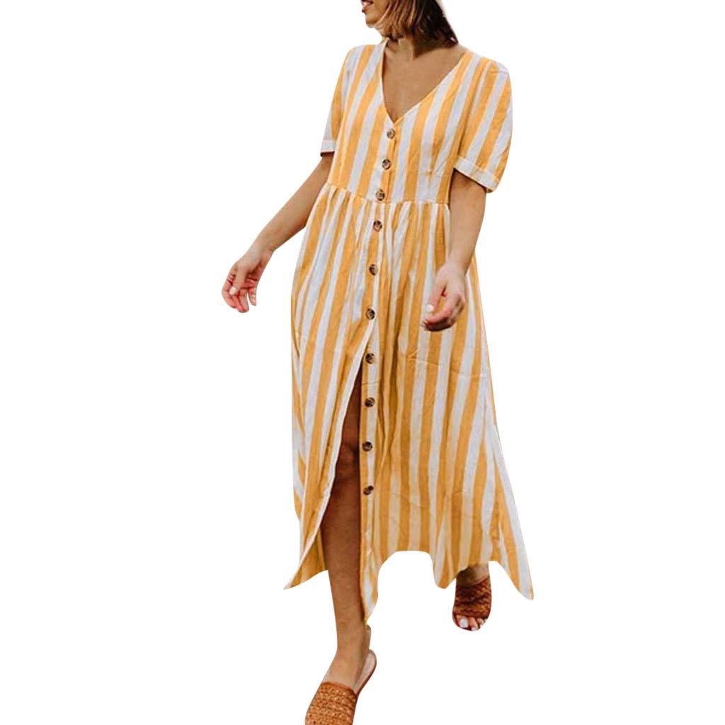 Wenini Women's Summer Stripe Long Dress Casual V -Neck Loose Baggy Stripe Button Dress