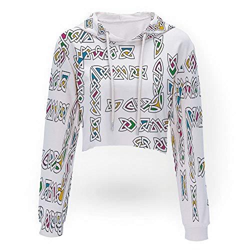 (Women's Pineapple Embroidered Hoodie,Irish,Sport Crop Top Sweatshirt Jumper Pull)