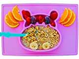 Silicone placemat and baby plate tray for infants toddlers and kids - these portable hippo happy mats one piece bowl suctions and fits to most tables highchair non slip baby feeding FDA Approved