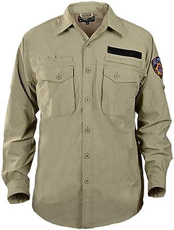 WYGH Camisas tácticas para Hombres Top de Manga Larga Transpirable de Secado rápido Estilo Militar, para Trabajo Casual al Aire Libre,Khaki-3XL: Amazon.es: Hogar