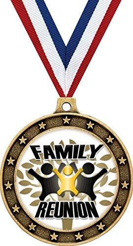 """Crown Awards Gold Family Reunion Medals - 2.5"""" Family Reunion Events Award Medal 5 Pack"""