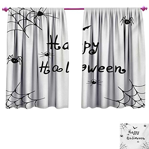 cobeDecor Spider Web Customized Curtains Happy Halloween Celebration Monochrome Hand Drawn Style Creepy Doodle Artwork Waterproof Window Curtain W72 x L45 Black White]()