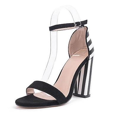 Frauen Strappy Heel Sandalen High Heel Strappy Kitten Peep Toe Ankle Strap Mode ... 214312