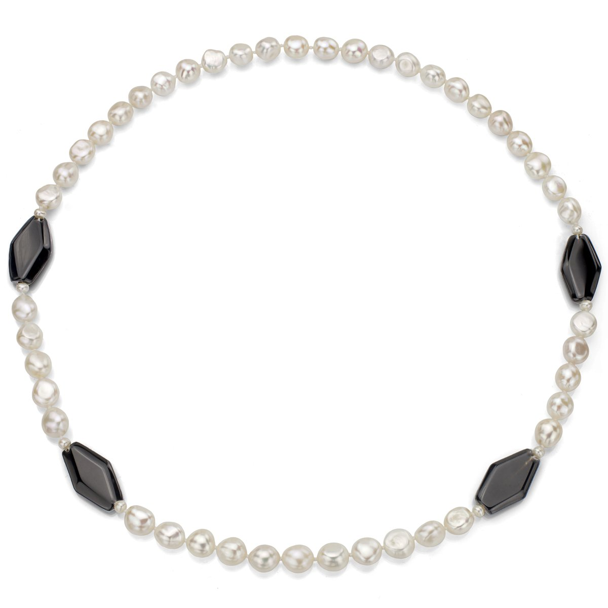 28 La Regis Jewelry 11-11.5mm and 4-4.5mm White Freshwater Cultured Pearls with 16x30 Simulated Black Onyx Necklace