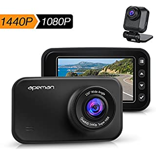 Sale Off APEMAN Dash Cam FHD 1440p & 1080p Dual Dash Camera for Cars DVR with IR Sensor 6G Lens G-Sensor WDR Super Night Vision Loop Recording Parking Monitoring