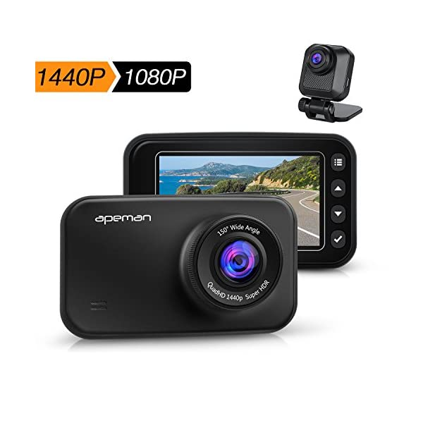 APEMAN Dash Cam FHD 1440p & 1080p Dual Dash Camera For Cars DVR With IR Sensor, 6G Lens, G Sensor, WDR, Super Night Vision, Loop Recording, Parking Monitoring