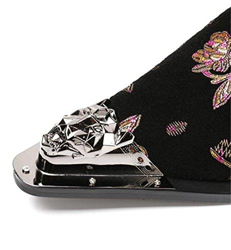 Formal pie a Terciopelo Fiesta occidental Dedo Club Tamaño Mocasines Impresión Zapatos hombre Negocio Metal 45 Puntiagudo Negro 38 awYvC