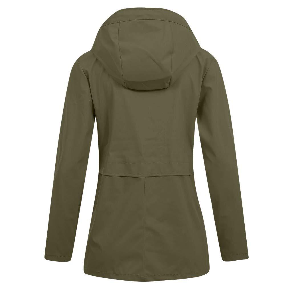 Ultramall Womens Pure Color Rain Jacket Outdoor Sweatshirt Waterproof Overcoat Lady Windproof Coat