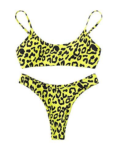 SweatyRocks Women's Bathing Suits Spaghetti Strap Leopard Print Thong Bikini Swimwear Set Yellow Small