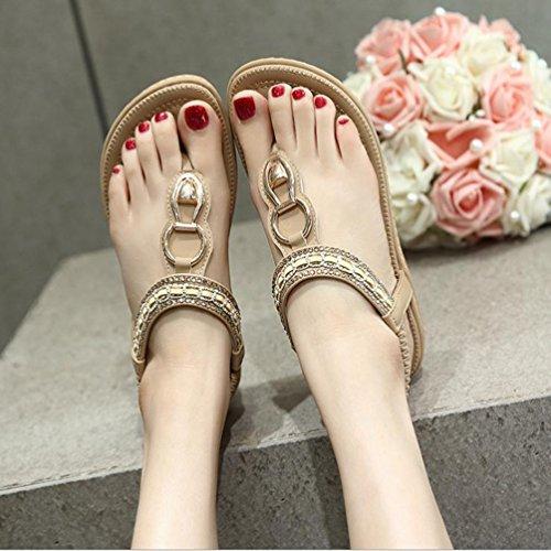 YOUJIAA Sandales de Bohême Femme, Tong en PU Cuir Strass Fleur Chaussures de Ville Été à Talons Plats Style #6 Abricot