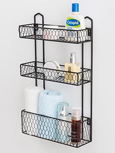 3 Tier Rustic Chicken Wire Wall Hanging Bathroom Organizer Shelf, Kitchen Storage Spice Rack by MyGift