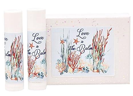 Bridal Shower Labels Ocean Wedding Lip Balm Labels Aqua and Coral Sea Chapstick Stickers