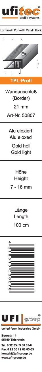f/ür Belagsh/öhen von 7-16 mm /Übergangsprofil 90 cm lang | 33 mm Breit, Bronze Dunkel viele Farben lieferbar ufitec Profilsystem f/ür Parkett- und Laminatb/öden
