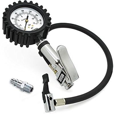 TireTek TXL-Pro Heavy Duty Tire Pressure Inflator Gauge With Lock On Chuck