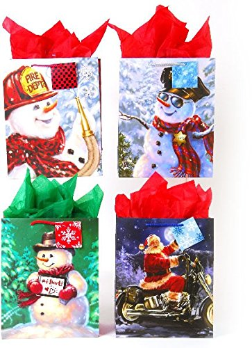 DDI 2127477 Square Large Snow Friends On Matte Gift Bag Case of 120 from D&D
