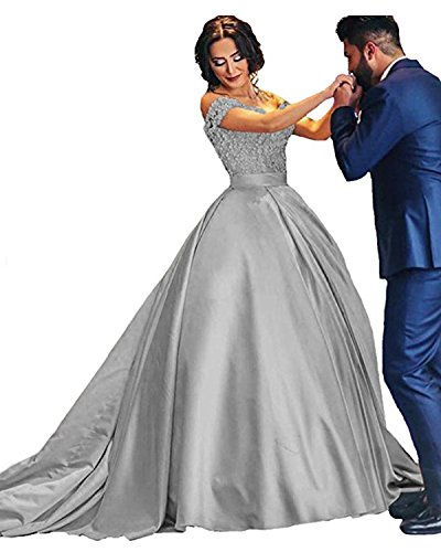 46492cd7947 JQLD 2018 Ball Gown Prom Dresses Cap Sleeve Applique Satin Sweet 16 Quinceanera  Dress Silver US6