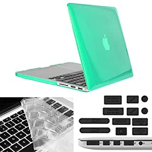 ENKAY Hat-Prince 3 in 1 Crystal Hard Shell Plastic Protective Case with Keyboard Guard & Port Dust Plug for Macbook Pro Retina 13.3 inch (Green)