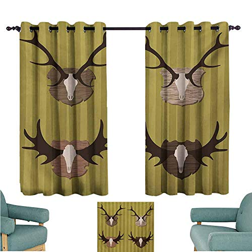 DONEECKL Novel Curtains Hunting Deer and Moose Horns Trophy on Striped Background Mountain Cottage Print Blackout Draperies for Bedroom Living Room W63 xL63 Khaki Multicolor