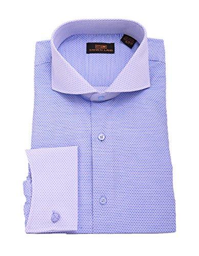 Steven Land Blue Textured Contrast Collar & French Cuff Cotton Dress (Textured Cotton Dress Shirt)