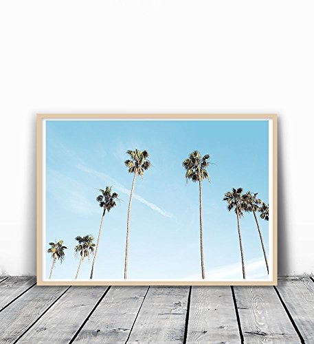 Palm Tree Print, Palm Tree, Palm Tree Photography, Palm Tree Art Print, Tropical leaf print, Tropical Wall Print, Palm Tree Wall Art, California Print, California Art, Tropical Wall Art, Blue, 8 x 10