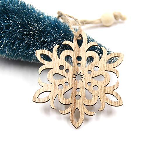 Mydufish 6PCS Cute Christmas Snowflakes&Angle Wooden Pendant Ornaments DIY Craft Xmas Tr ()