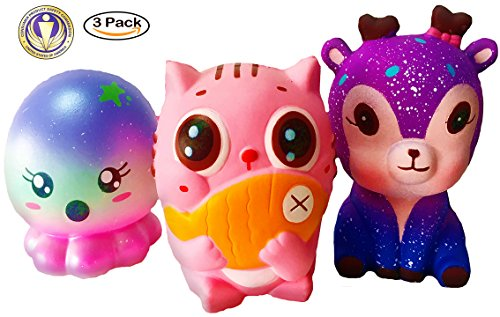 Dialeesi Squishies Slow Rising Toy 3 Pack - Kawaii Squishy Package of Cute Deer Cat Octopus | Soft and Cream Scented Stress Reliever for Kids