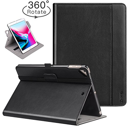 Leather Case Holder - Ztotop iPad 9.7 Inch 2017/2018 Case,[360 Degree Rotating/Genuine Leather] with Auto Wake/Sleep,Pencil Holder,Hand Strap for New Apple iPad Education,iPad 9.7 2017,iPad Air 2,Black