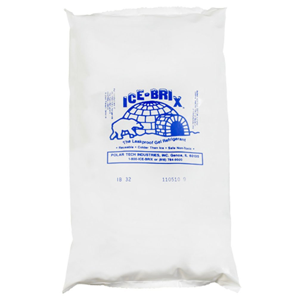 "Ice-Brix IB32BPD Cold Pack, 10"" Length x 6"" Width x 1-1/2"" Height, 32 oz, White (Case of 9)"