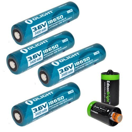 4 Pack Olight 3400mAh Protected 18650 Rechargeable Li-ion Batteries with 2 x EdisonBright AA to D type battery spacer/converters - Designed for M22 M21X M20S S20 M18 SR51 TM26 TM15 TM11 P12 SRT7 SRT6 P25 EC25 TK75 PD35 PD32 TK22 M21X BT20 Striker P20 SR52 i4 and other High Drain Devices (Striker Spacer)
